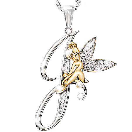 Photo of Tinker Bell Initial Pendant Necklace by The Bradford Exchange Online