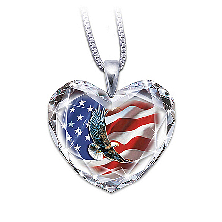 Photo of American Pride Crystal Heart Pendant Necklace by The Bradford Exchange Online