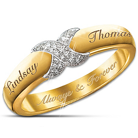 Photo of Everlasting Kiss Personalized Diamond Ring: Couples Jewelry Gift For Her by The Bradford Exchange Online