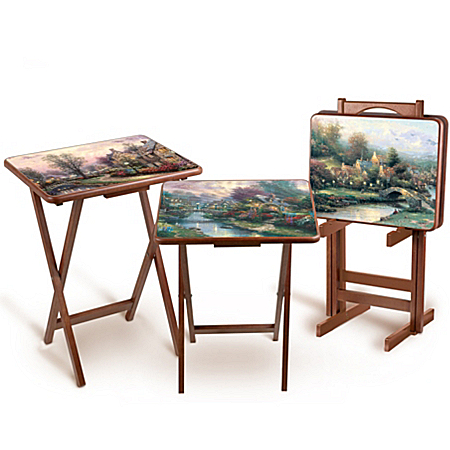 Photo of Thomas Kinkade Artistic Wooden Tray Tables by The Bradford Exchange Online