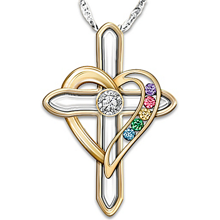 Photo of Diamond and Birthstone Personalized Pendant Necklace: A Mother's Faith and Family by The Bradford Exchange Online