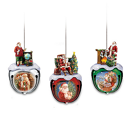 Photo of Dona Gelsinger's Santa Sleigh Bells Ornaments Set One: Set Of Three by The Bradford Exchange Online