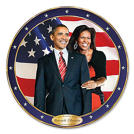 Photo of An Historic Change Barack And Michelle Obama Commemorative Collector Plate by The Bradford Exchange Online