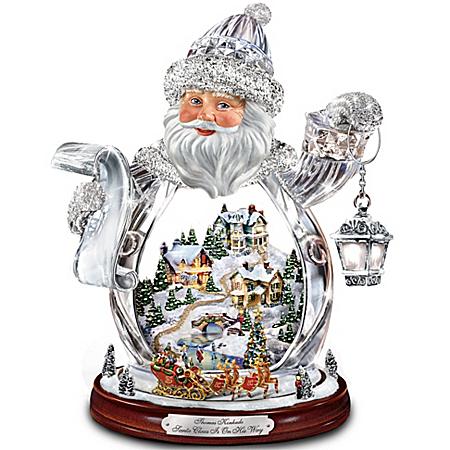 Photo of Thomas Kinkade Santa Claus Tabletop Crystal Figurine: Santa Claus Is On His Way by The Bradford Exchange Online