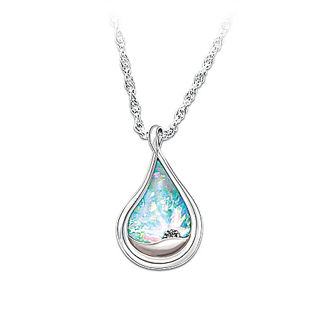Photo of Diamond And Created Opal Engraved Pendant Necklace: I Am With You by The Bradford Exchange Online