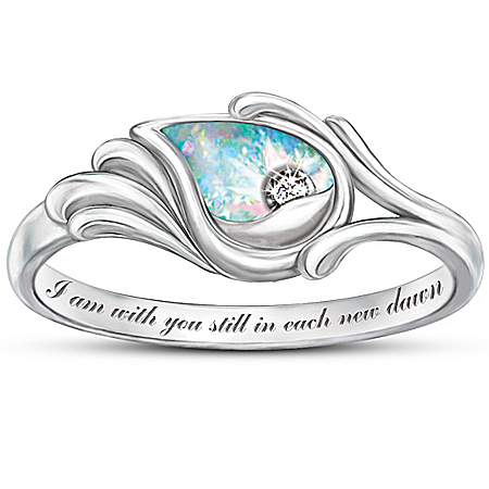 Photo of Diamond And Created Opal Women's Ring: I Am With You Still by The Bradford Exchange Online