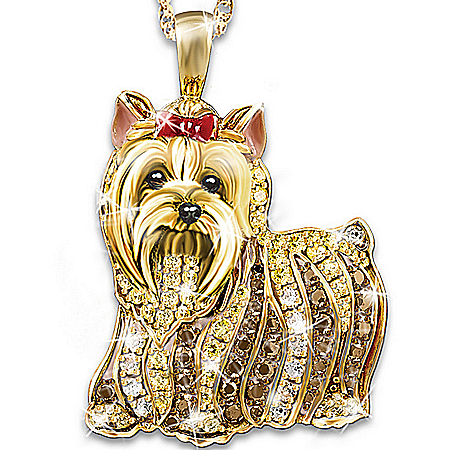 Photo of Best In Show Dog Lovers Crystal Pendant Necklace by The Bradford Exchange Online