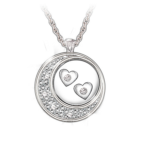Photo of Sterling Silver And Diamond Pendant Necklace: I Love You To The Moon And Back by The Bradford Exchange Online