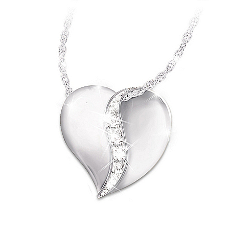 Photo of Heart-Shaped Engraved Diamond Daughter Pendant Necklace: My Precious Daughter by The Bradford Exchange Online