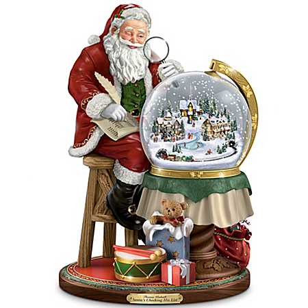 Photo of Thomas Kinkade Santa's Checking His List Musical Sculpture With Swirling Snow by The Bradford Exchange Online