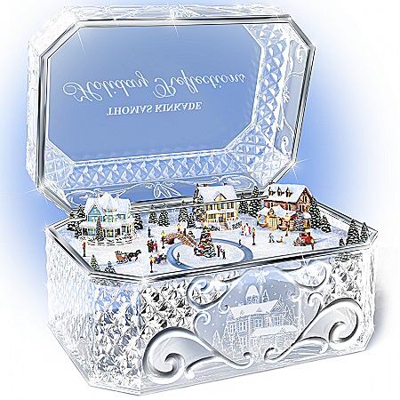 Photo of Thomas Kinkade Holiday Reflections Crystal Music Box by The Bradford Exchange Online