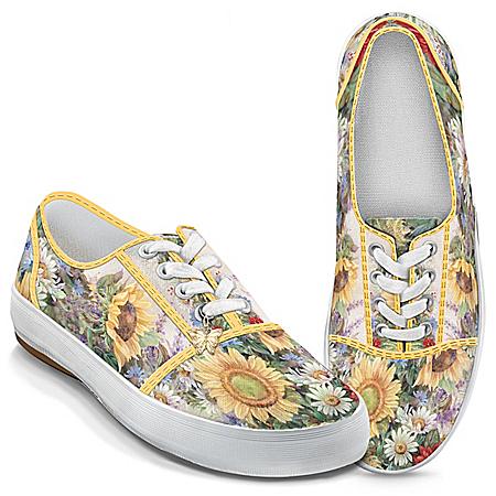 Photo of Lena Liu Artistically Designed Canvas Sneakers: Sunflower Splendor by The Bradford Exchange Online