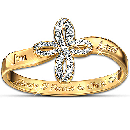 Image of Thomas Kinkade Personalized Religious Couples Ring: Always & Forever In Christ - Personalized Jewelry