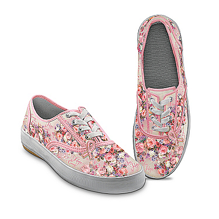 Photo of Lena Liu Breast Cancer Support Canvas Art Women's Sneakers: Steps Toward A Cure by The Bradford Exchange Online