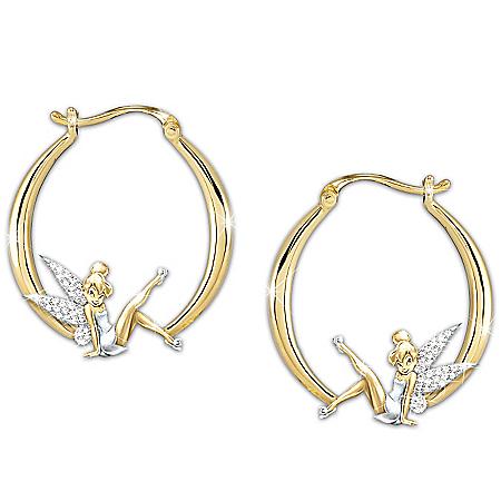 "Photo of ""Believe In The Magic"" Tinker Bell Diamonesk Earrings by The Bradford Exchange Online"