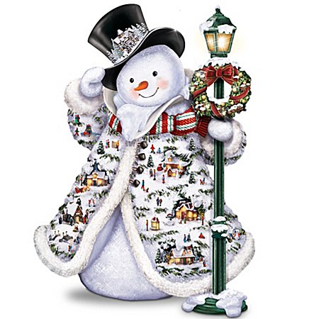 Photo of Thomas Kinkade Midwinter Magic Sculpture: Snowman With Illuminated Village Buildings by The Bradford Exchange Online
