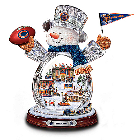 Photo of Chicago Bears Masterpiece Edition Crystal Snowman Figurine by The Bradford Exchange Online