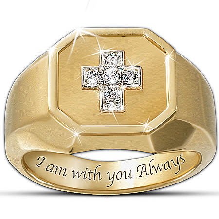 Photo of The Devotion Diamond Men's Ring With A Cross Design by The Bradford Exchange Online