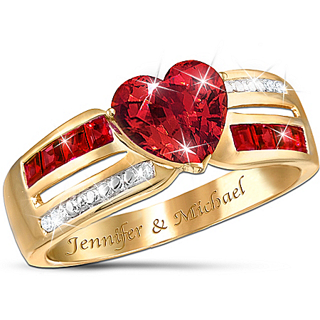 Photo of Ribbons Of Love Personalized Garnet Ring by The Bradford Exchange Online