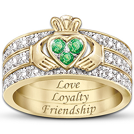 Blessing Of The Claddagh Emerald & Diamond Hidden Message Ring 111074001
