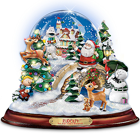 Image of Adorable Musical Rudolph The Red Nosed Reindeer Snow Globe with Lights
