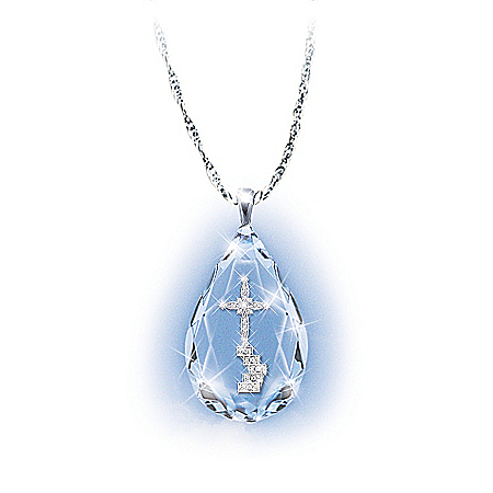 Photo of The Loving Memories Teardrop Crystal Bereavement Pendant Necklace by The Bradford Exchange Online
