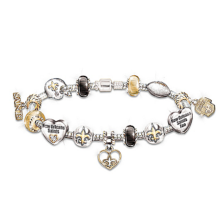 Photo of Go Saints! #1 Fan Charm Bracelet by The Bradford Exchange Online