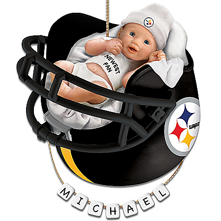 Photo of Pittsburgh Steelers Personalized Baby's First Christmas Ornament by The Bradford Exchange Online