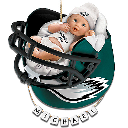 Photo of Philadelphia Eagles Personalized Baby's First Christmas Ornament by The Bradford Exchange Online