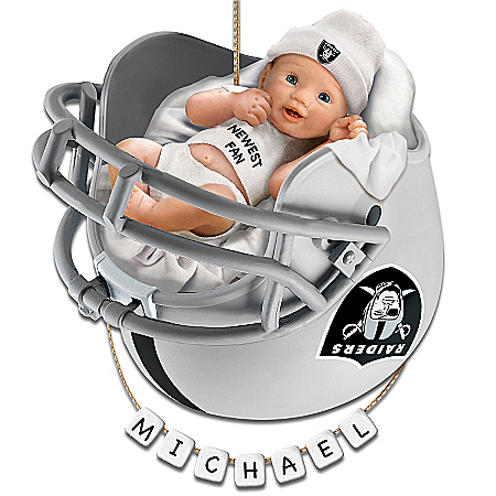 Photo of Oakland Raiders Personalized Baby's First Christmas Ornament by The Bradford Exchange Online
