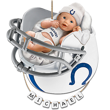 Photo of Indianapolis Colts Personalized Baby's First Christmas Ornament by The Bradford Exchange Online
