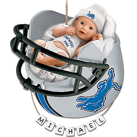 Photo of Detroit Lions Personalized Baby's First Christmas Ornament by The Bradford Exchange Online