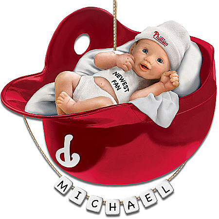 Photo of Philadelphia Phillies Personalized Baby's First Christmas Ornament by The Bradford Exchange Online