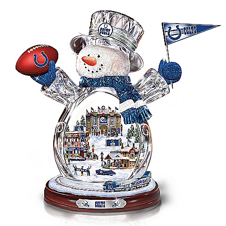 Photo of Indianapolis Colts Masterpiece Edition Crystal Snowman Figurine by The Bradford Exchange Online