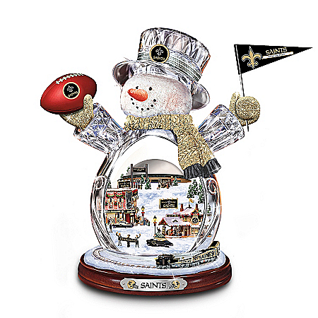 Photo of New Orleans Saints Masterpiece Edition Crystal Snowman Figurine by The Bradford Exchange Online