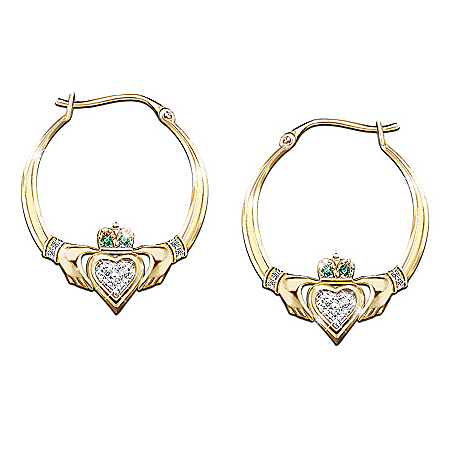 Photo of Blessings Of The Emerald Isle Claddagh Earrings by The Bradford Exchange Online