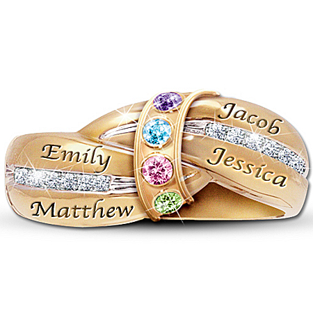 Photo of A Mother's Embrace Personalized Birthstone Ring by The Bradford Exchange Online