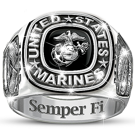 Photo of USMC Semper Fi Personalized Men's Ring by The Bradford Exchange Online