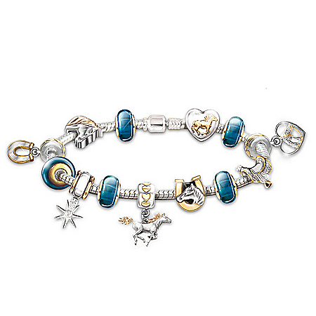 Photo of Spirit Of The Wind Horse Charm Bracelet by The Bradford Exchange Online