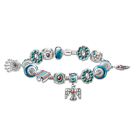 """Photo of Native American Inspired """"Sacred Spirits"""" Charm Bracelet With Southwestern Motif by The Bradford Exchange Online"""