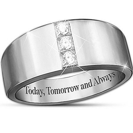 "Photo of ""Today, Tomorrow And Always"" 3-Diamond Men's Ring by The Bradford Exchange Online"