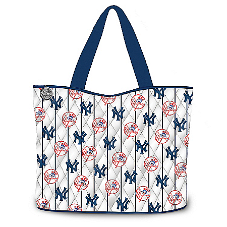 Photo of New York Yankees Tote Bag With Two Free Cosmetic Accessory Cases by The Bradford Exchange Online