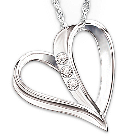 Photo of From Dad: My Daughter, My Heart, My Love 3-Diamond Pendant Necklace by The Bradford Exchange Online
