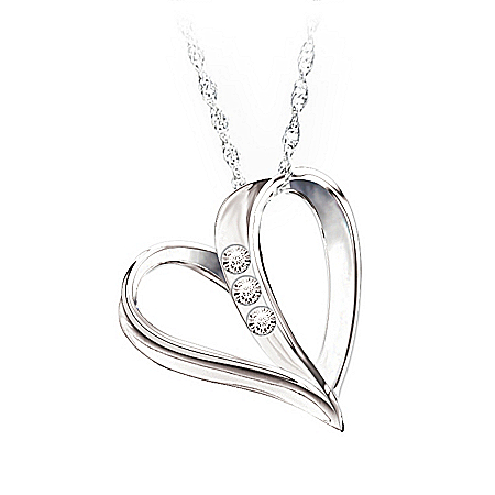 Photo of My Daughter, My Heart, My Love 3-Diamond Pendant Necklace by The Bradford Exchange Online