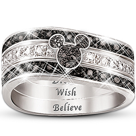 """Photo of The """"Mickey Hidden Message"""" Engraved Women's Three Band Ring by The Bradford Exchange Online"""