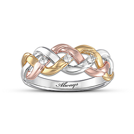 """Photo of """"Strength Of Our Faith"""" Three-Cord Tri-Color Diamond Ring by The Bradford Exchange Online"""