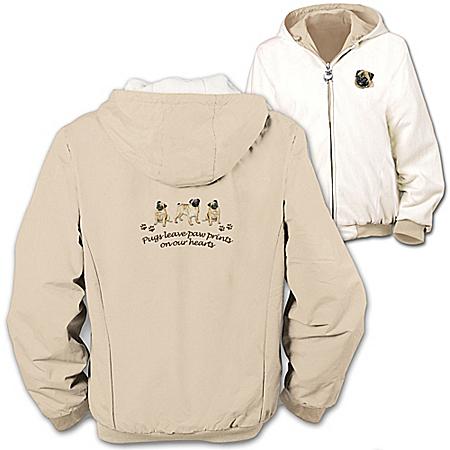 Photo of Loyal Companion Pug Women's Fleece & Microfiber Reversible Jacket by The Bradford Exchange Online