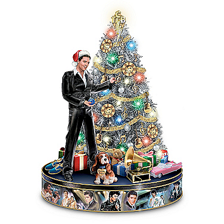 Photo of Elvis Rock 'N' Roll Pre-Lit And Musical Tabletop Christmas Tree by The Bradford Exchange Online
