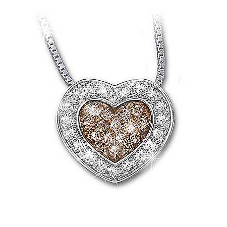 Photo of Heart-Shaped White And Mocha-Colored Diamond Pendant Necklace: Heart Of Love by The Bradford Exchange Online