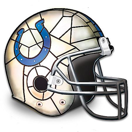 Photo of Officially Licensed Indianapolis Colts Stained-Glass Design Helmet Accent Lamp by The Bradford Exchange Online